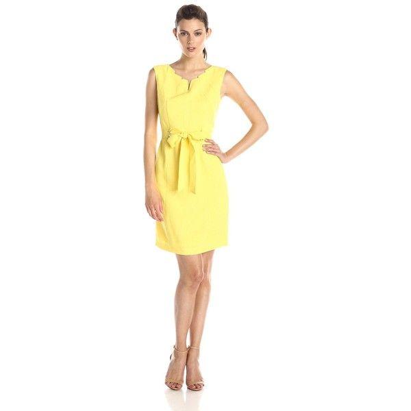 a841ea3f Ellen Tracy Women's Cap-Sleeve V-Neck Belted Sheath Dress ($39) ❤ liked on  Polyvore