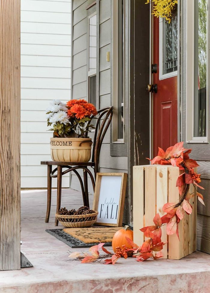 Fall Front Porch Decorating Ideas On A Budget Joyfully Growing Blog Fall Patio Decor Front Porch Decorating Fall Decorations Porch