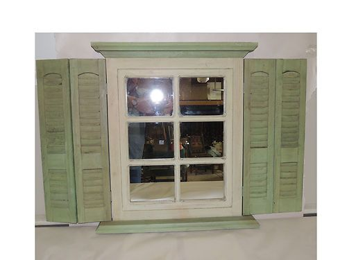 shutter mirror window sage green cream homco home interior diy