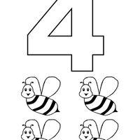 desenho de número 4 com figuras para colorir número pinterest