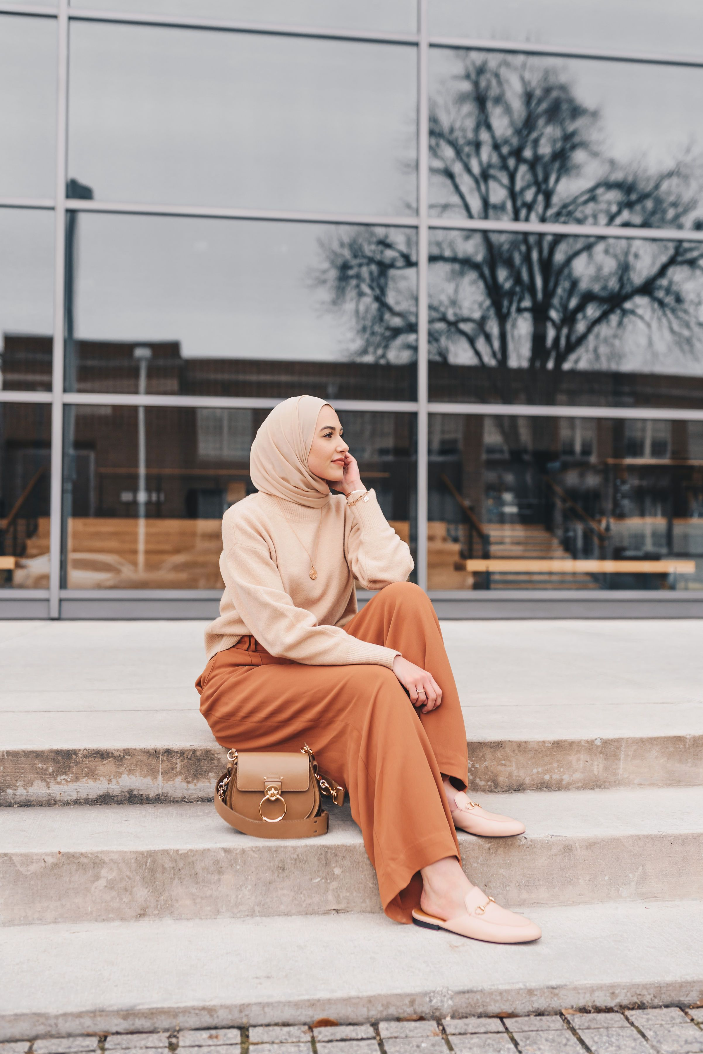 neutral spring outfit, and other stories, hijab fashion  Modest