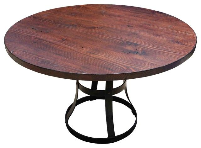 Round Barn Wood Dining Table With Forged Metal Base By Woodland Creek  Furniture In Custom Sizes U0026 Finishes. | Table Base | Pinterest | Forging  Metal, ...