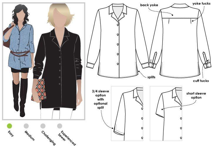 Jane Overshirt sewing pattern   Fashion for Apples   Pinterest