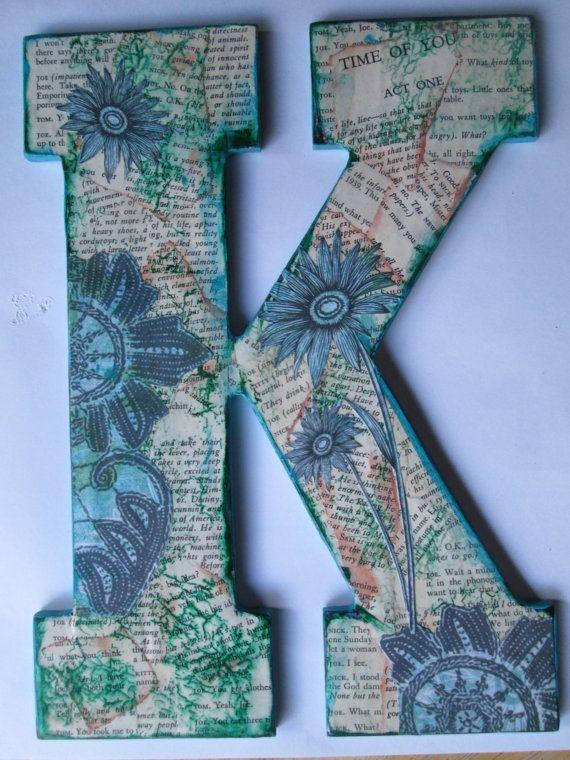Wood letter, Nursery letter K, Decorative Wood K, Wall hanging