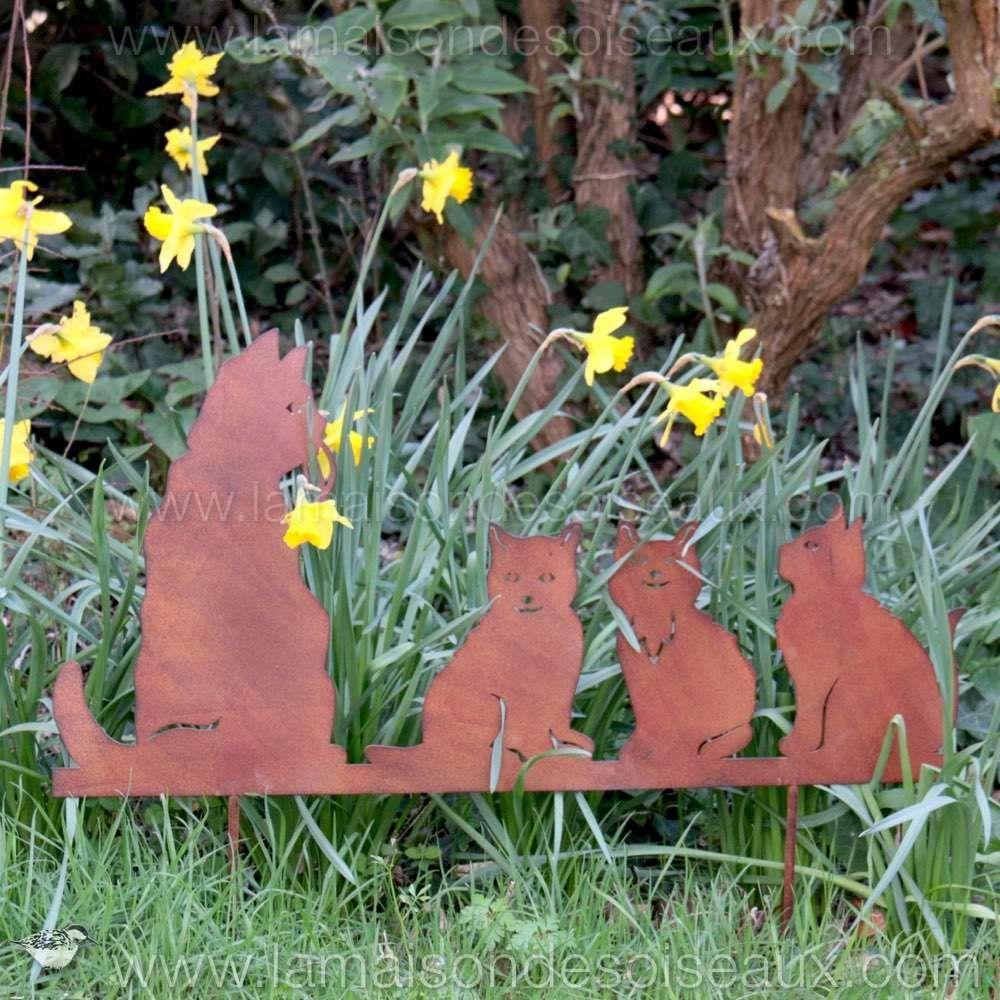 Silhouette famille chat en fer patine rouille garden - Deco jardin metal rouille ...