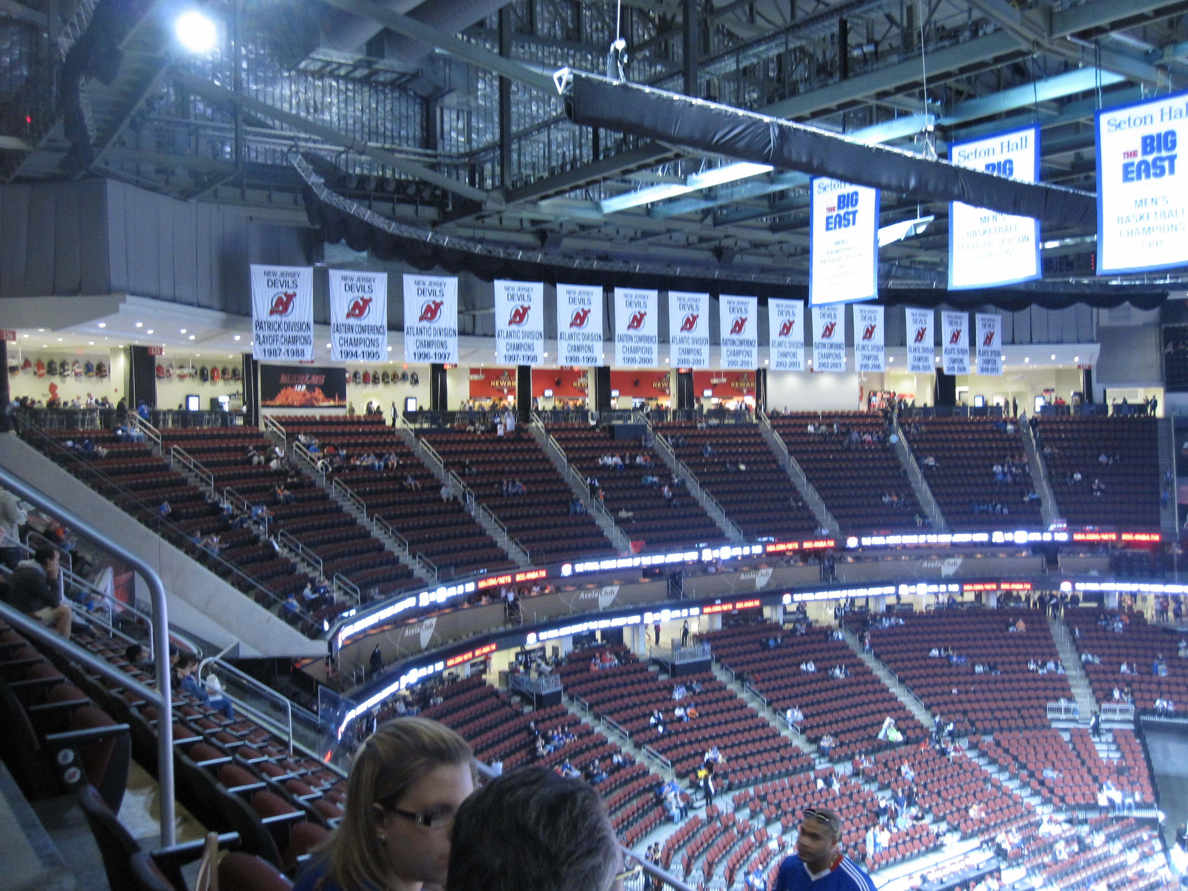 New Jersey Devils banners in the Prudential Center