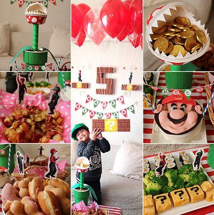 マリオブラザーズをテーマにした5歳の男の子の誕生日パーティー演出 Happy Birthday Project バースデー バナー 男の子のバースデーパーティー パーティー 飾り付け