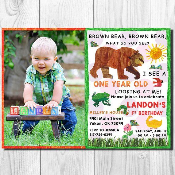 Brown Bear Birthday Party Invitation Card Is Perfect For Your Childs Birthday Party This Listi Brown Bear Brown Bear Birthday Bear Invitations Bear Birthday