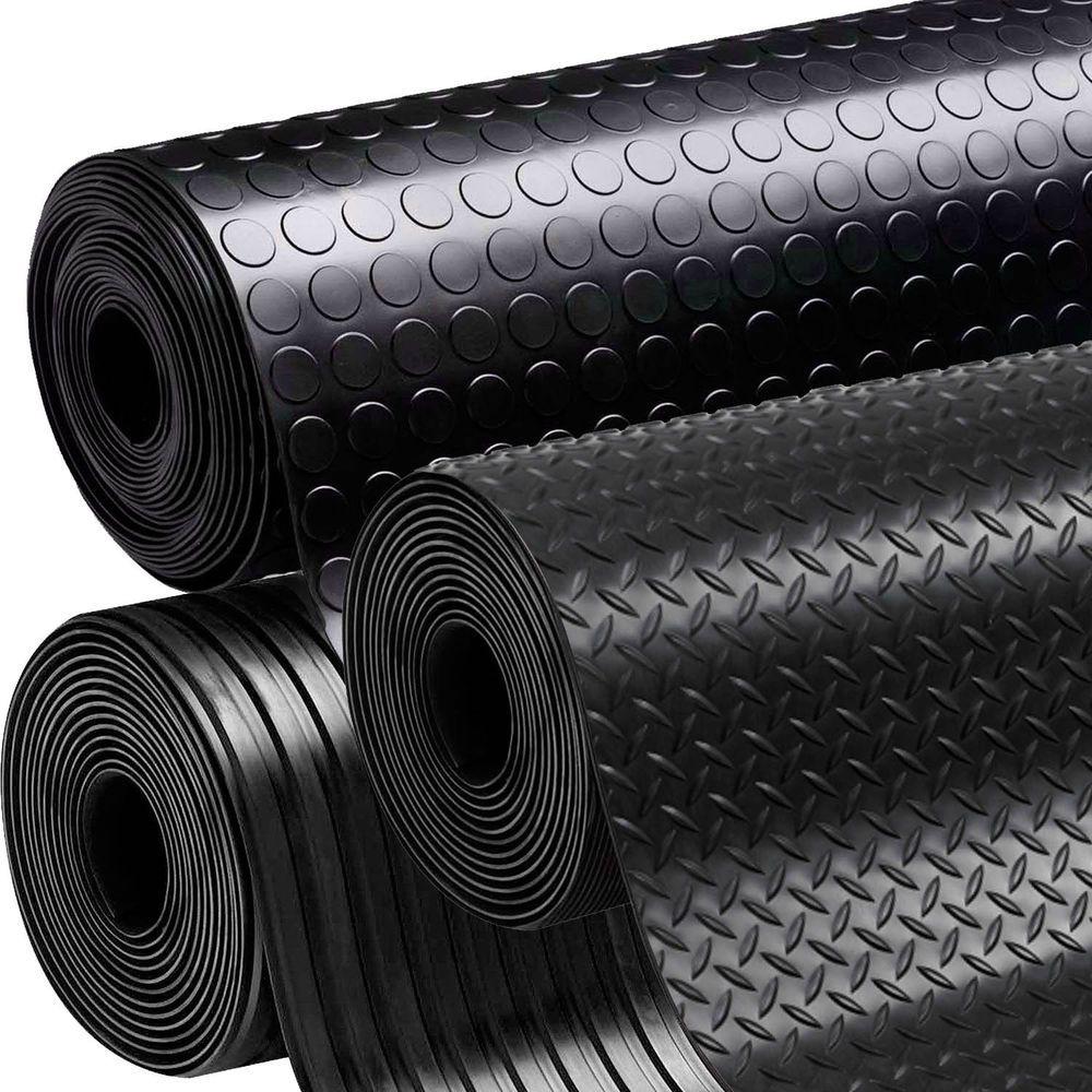 Rubber floor mats workshop - Black Anti Slip Shed Van Garage Workshop Rubber Flooring Matting Roll 1 5m X 3mm In Home