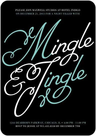 Mingle and Jingle - Corporate Holiday Party Invitations in Black | Baumbirdy