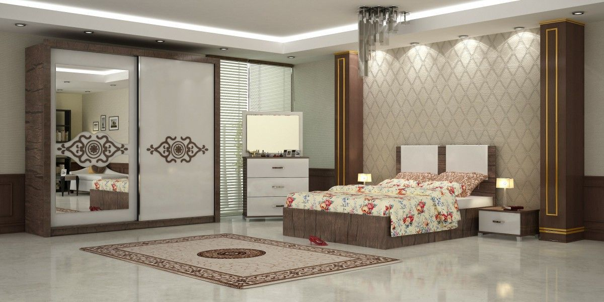 Riva Bedroom Furniture Set Walnut 1-Turkey-Wholesale | Bedroom ...