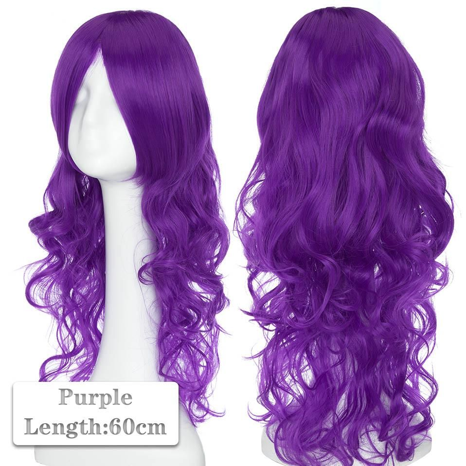 Photo of 60~80cm Cosplay Wig Long Wig Middle Part Hair Wig Cosplay Natural Wavy Heat Resistant Synthetic Wigs – purple / 60-80CM / CHINA