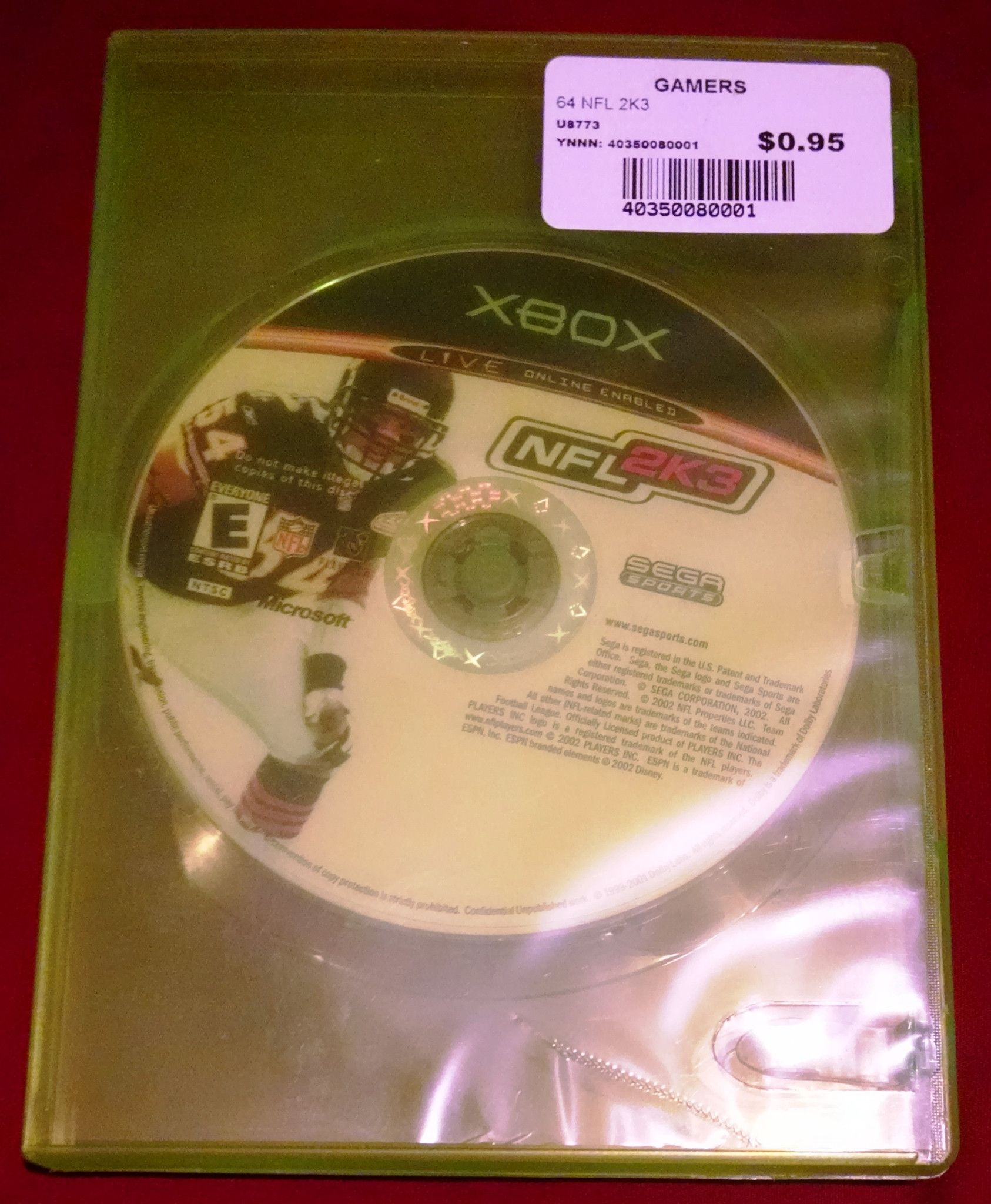 nfl 2k3 for xbox 2002 football video game upc 0010086640229
