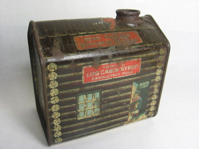 Vintage Towels Log Cabin Maple Syrup Tin 1914 Vintage Towels Vintage Tins Log Cabin