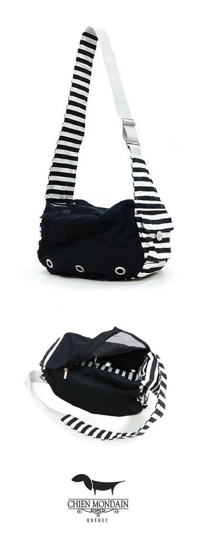 Chien mondain sac à bandoulière en tissu noir sacs de transport
