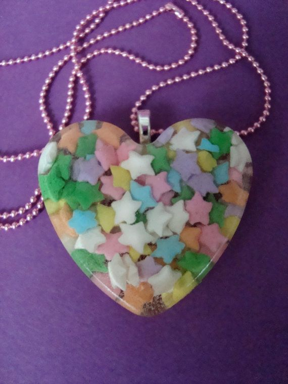 rainbow stars nonpareil resin heart necklace by WittyJosefiend, $7.00
