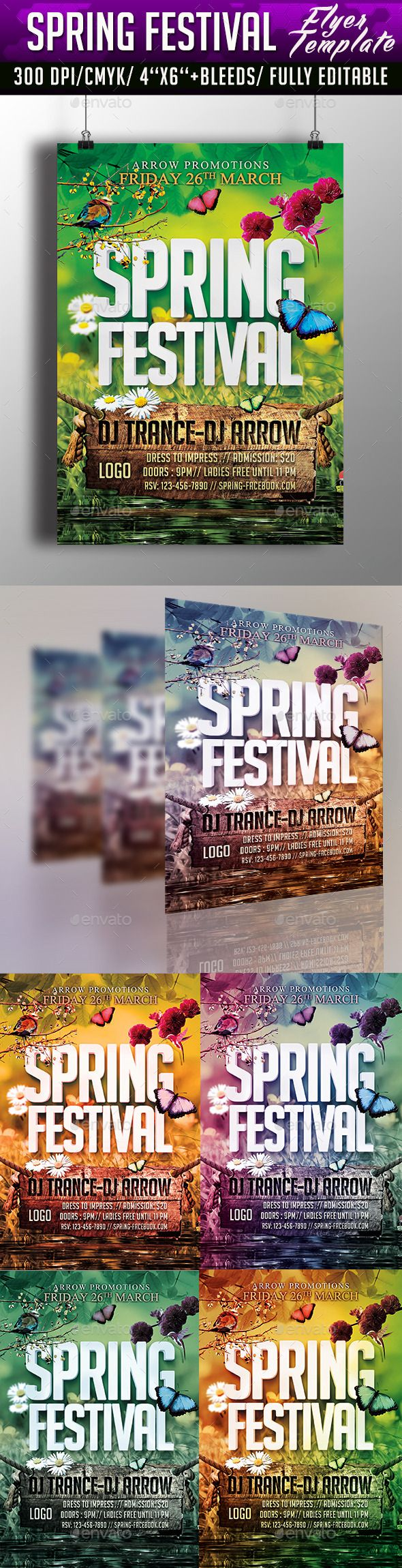 Spring Festival Flyer Template  Photoshop Psd Spring Party New