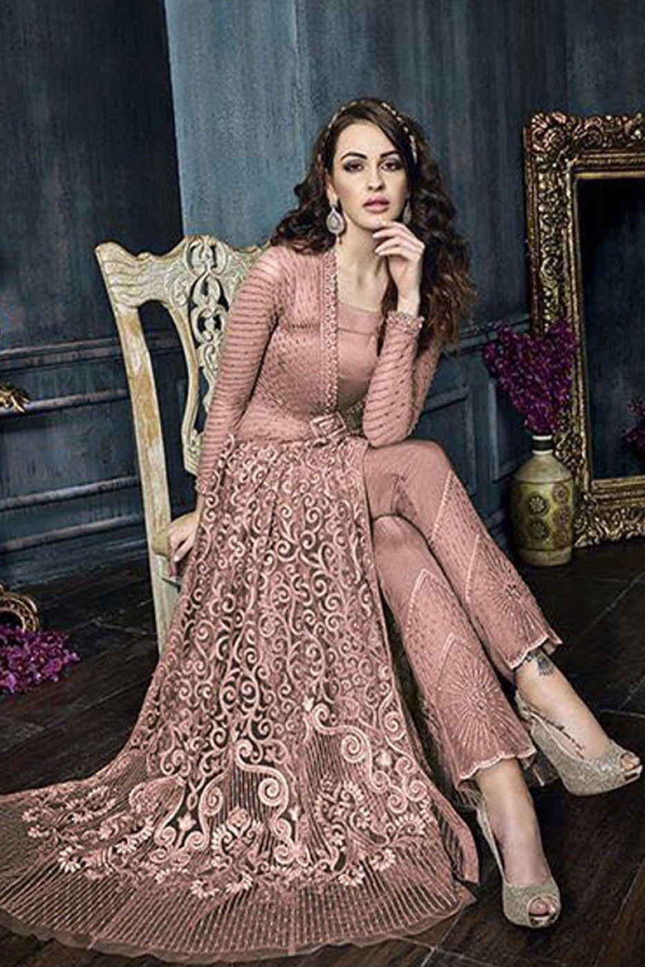 Shop Onion pink color net weddding lehenga and pant style