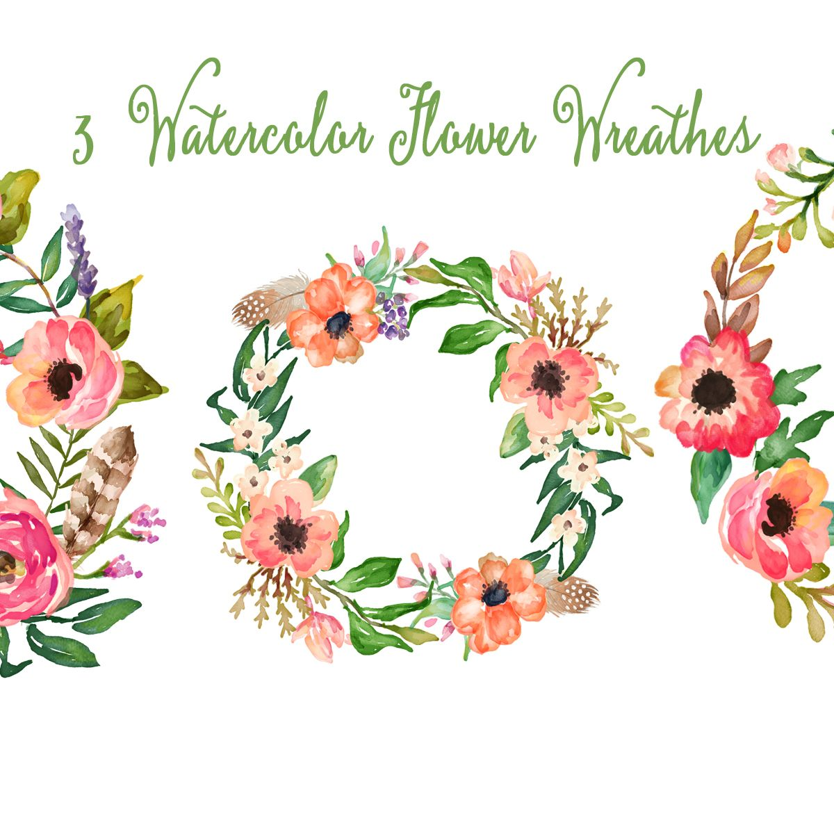 Watercolor Hand Painted Floral Frames Clipart Watercolor Flower