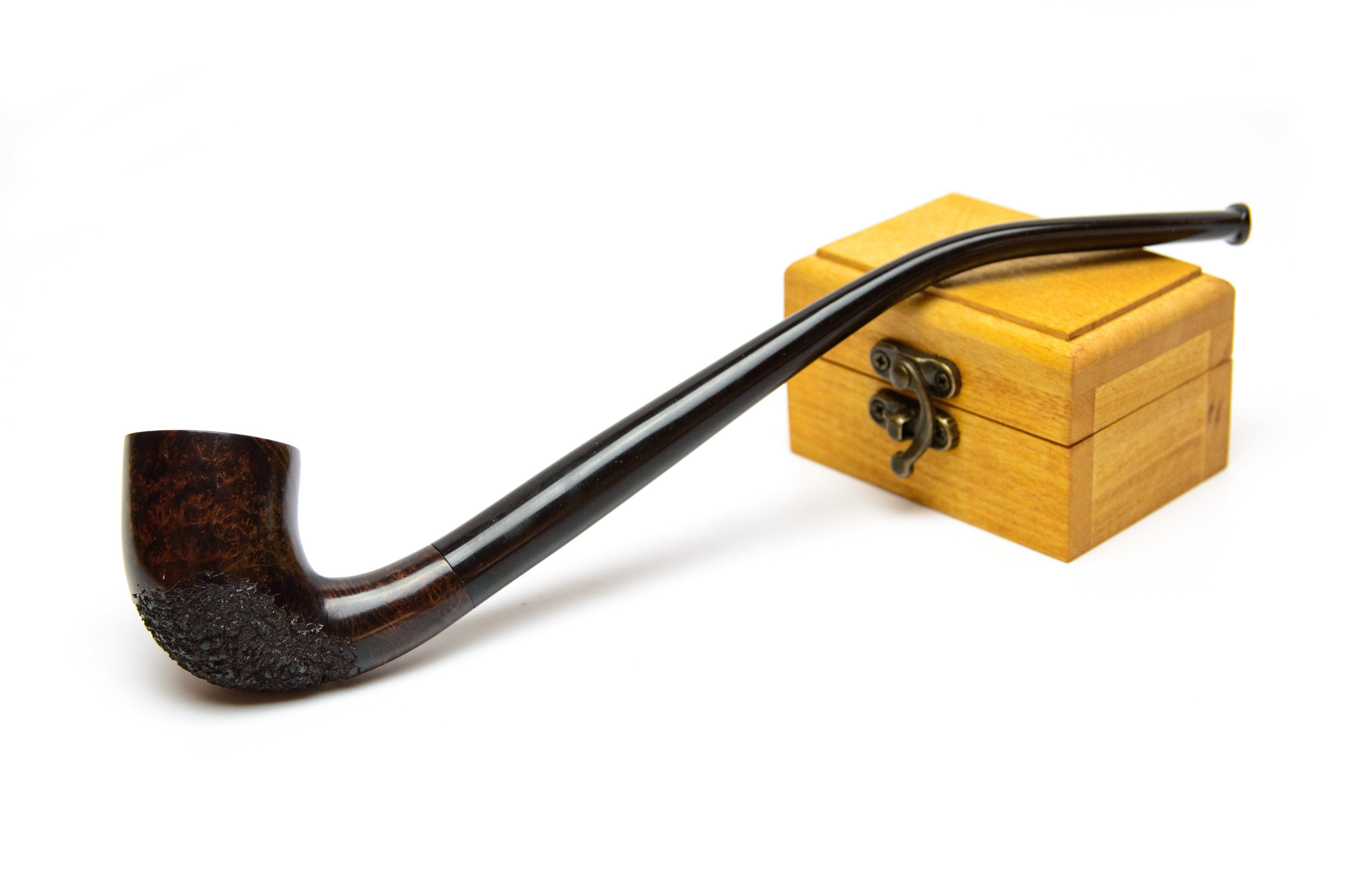 Yin Yang Tobacco Pipe for Smoking Long Stem Churchwarden White Color Handmade Carved from Pear Wood  Halloween Gift Engraved pipe