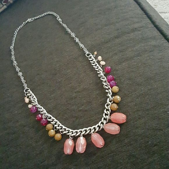 J. Jill long chain necklace with drop beads Beautiful statement necklace featuring coral, amber, berry and cream colored beads.  Large chain links on bottom,  smaller on top with extra ovals on chain in between.  Only worn 1 time J. Jill Jewelry Necklaces