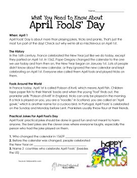 April Fools Day history -- Awesome printable worksheet with the ...