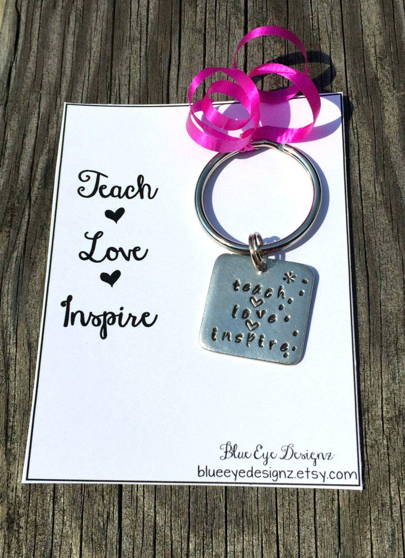 Teacher Appreciation Keychain - Thank you Teacher gift - Teach Love Inspire - pinned by pin4etsy.com