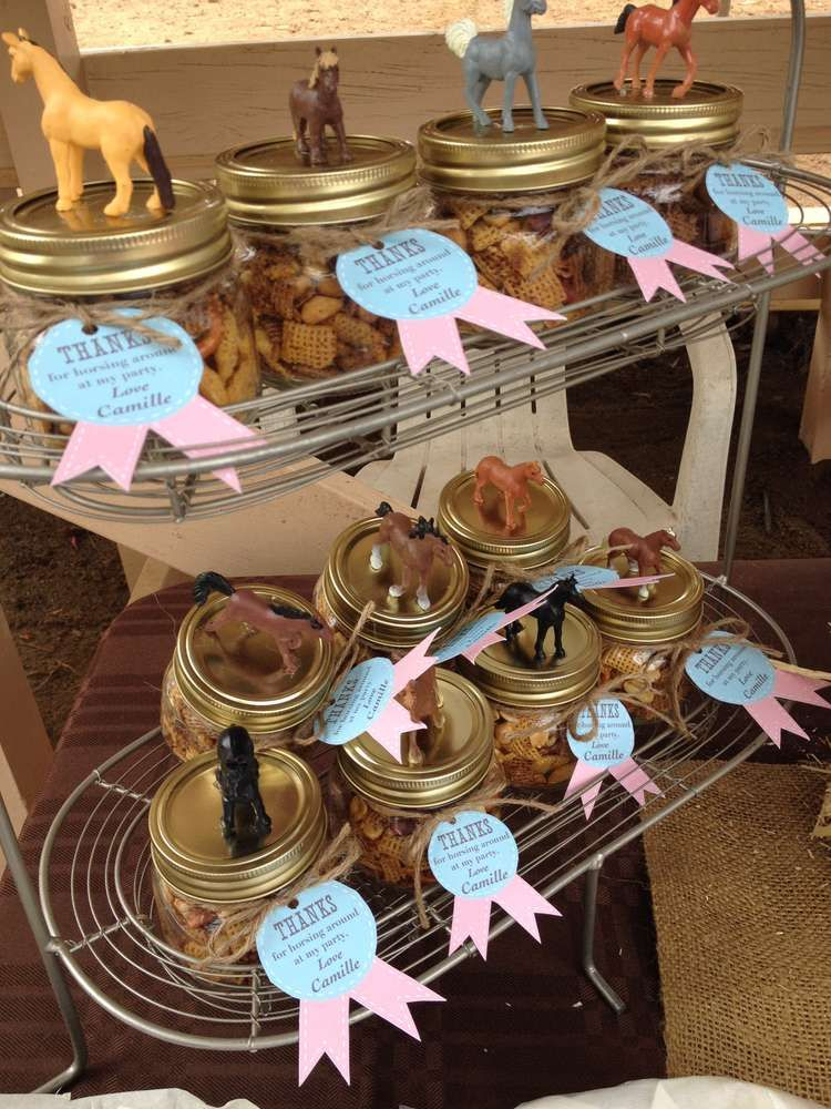 Animal topped favors at a horse birthday party! See more party planning ideas at CatchMyParty.com!