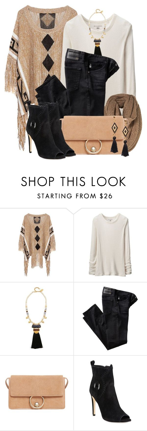 """""""Rebecca Minkoff Suede Peep Toe Ankle Booties"""" by brendariley-1 ❤ liked on Polyvore featuring Uniqlo, Lizzie Fortunato, AG Adriano Goldschmied, MANGO and Rebecca Minkoff"""