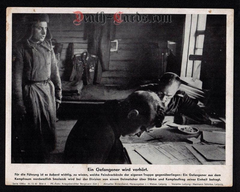 orig. WWII Press Photo - Interrogation of russian prisoner - forward area Smolensk - Date of publication: Dec. 30, 1943
