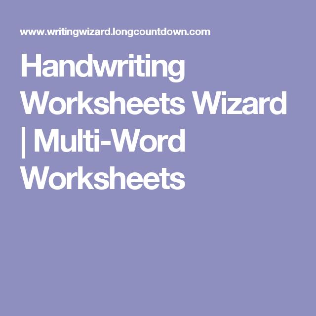 handwriting worksheets wizard multi word worksheets handwriting spelling pinterest. Black Bedroom Furniture Sets. Home Design Ideas