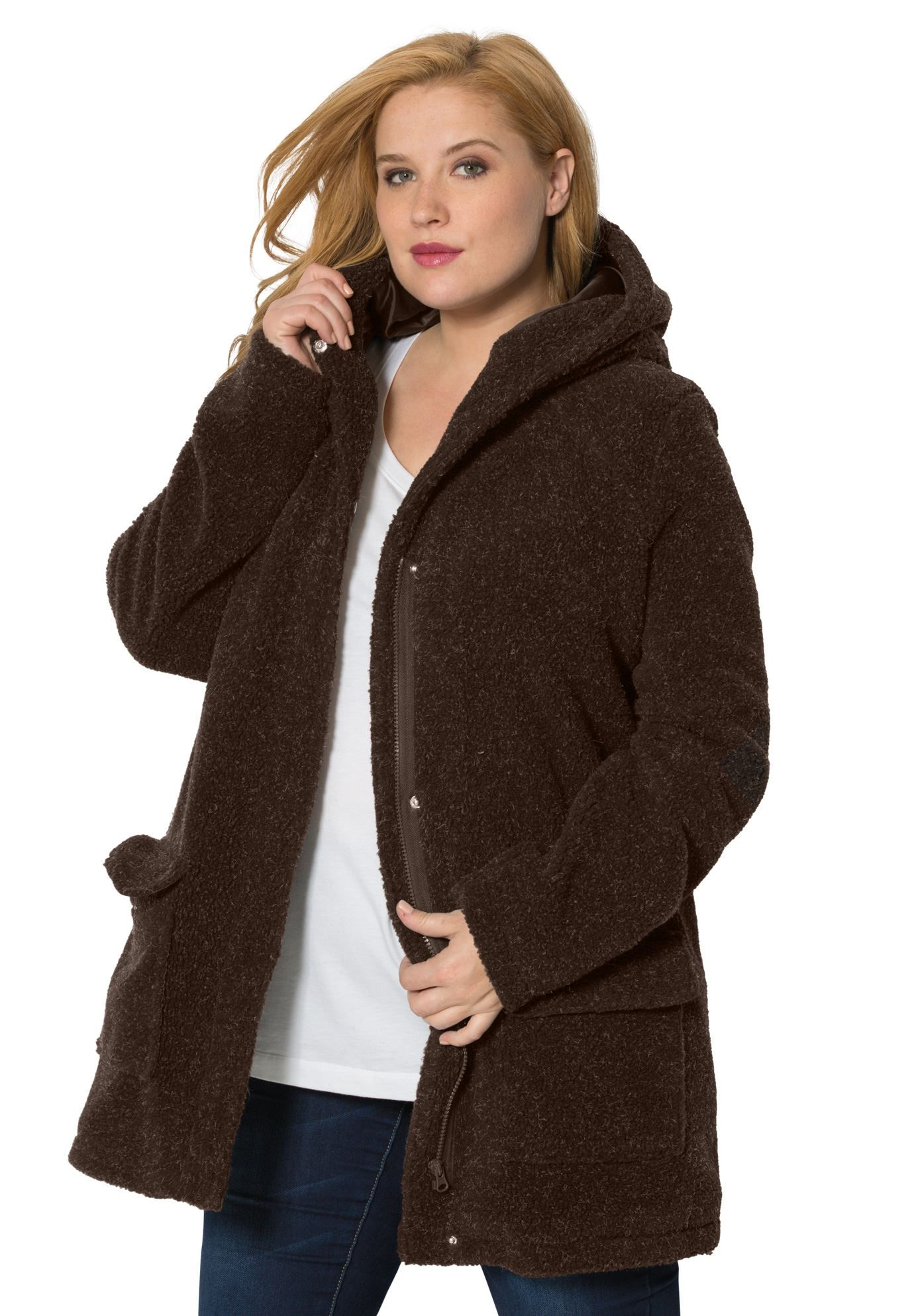 4887397aa9 Plus Size Hooded Berber Fleece Coat