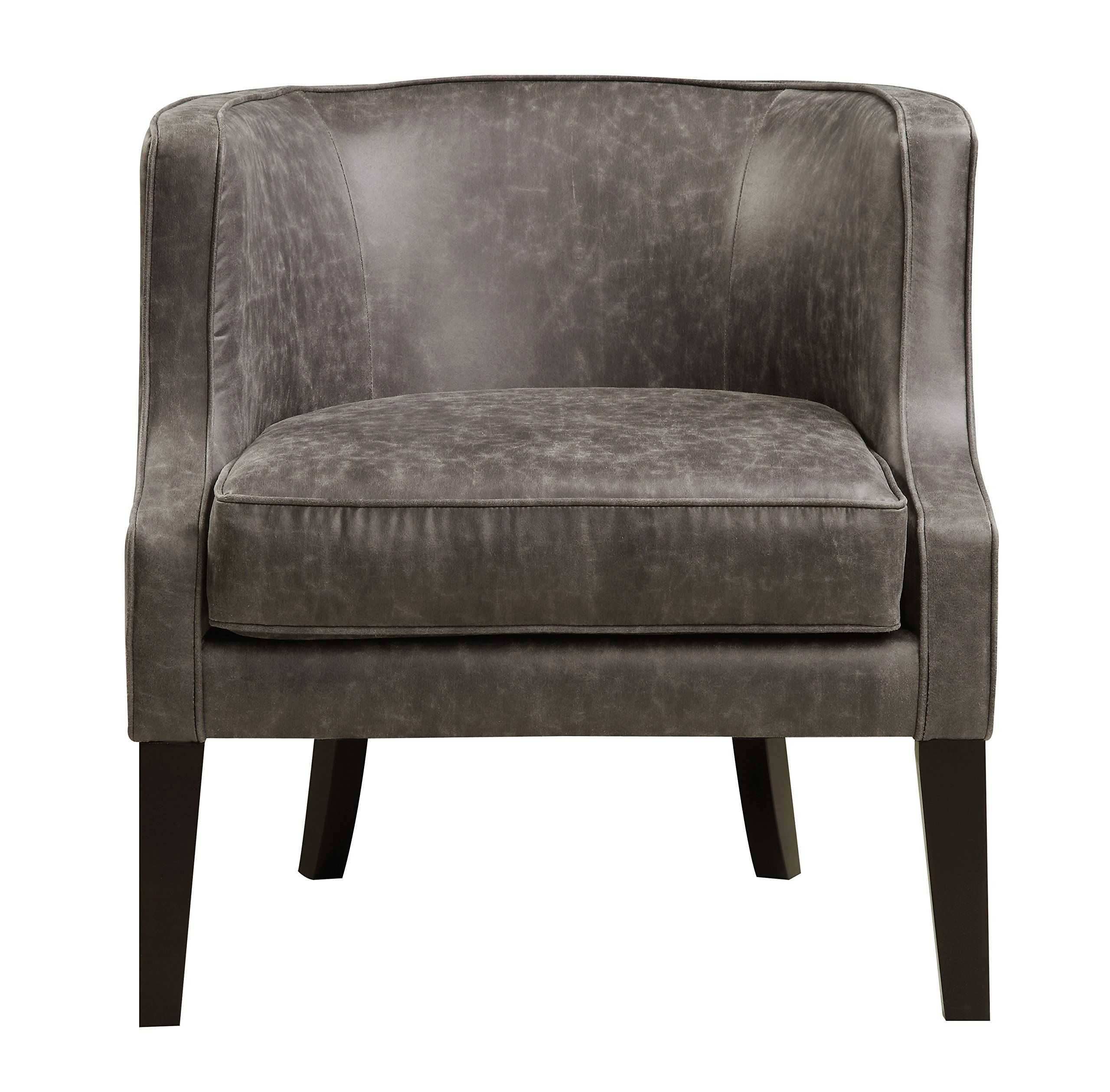 Pulaski Upholstered Barrel Accent Arm Chair Brown Pellini Thunder Leather