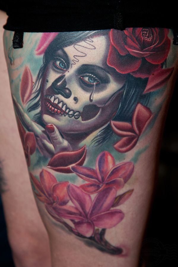 ... Inkfestival 2012. Mexican death mask tattoo with rose and leafs