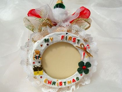 1st Christmas, Personalized Christmas Ornament, Baby's first Christmas, Photo Frame Ornament, Christmas Picture Frame, Christmas Photo Frame, Hand Painted ornament