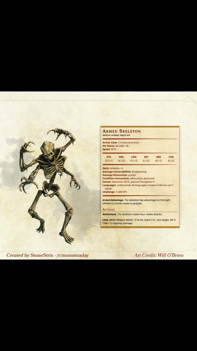 Undead 4-Armed Skeleton CR 1 | DnD - Monsters in 2019 | Dnd