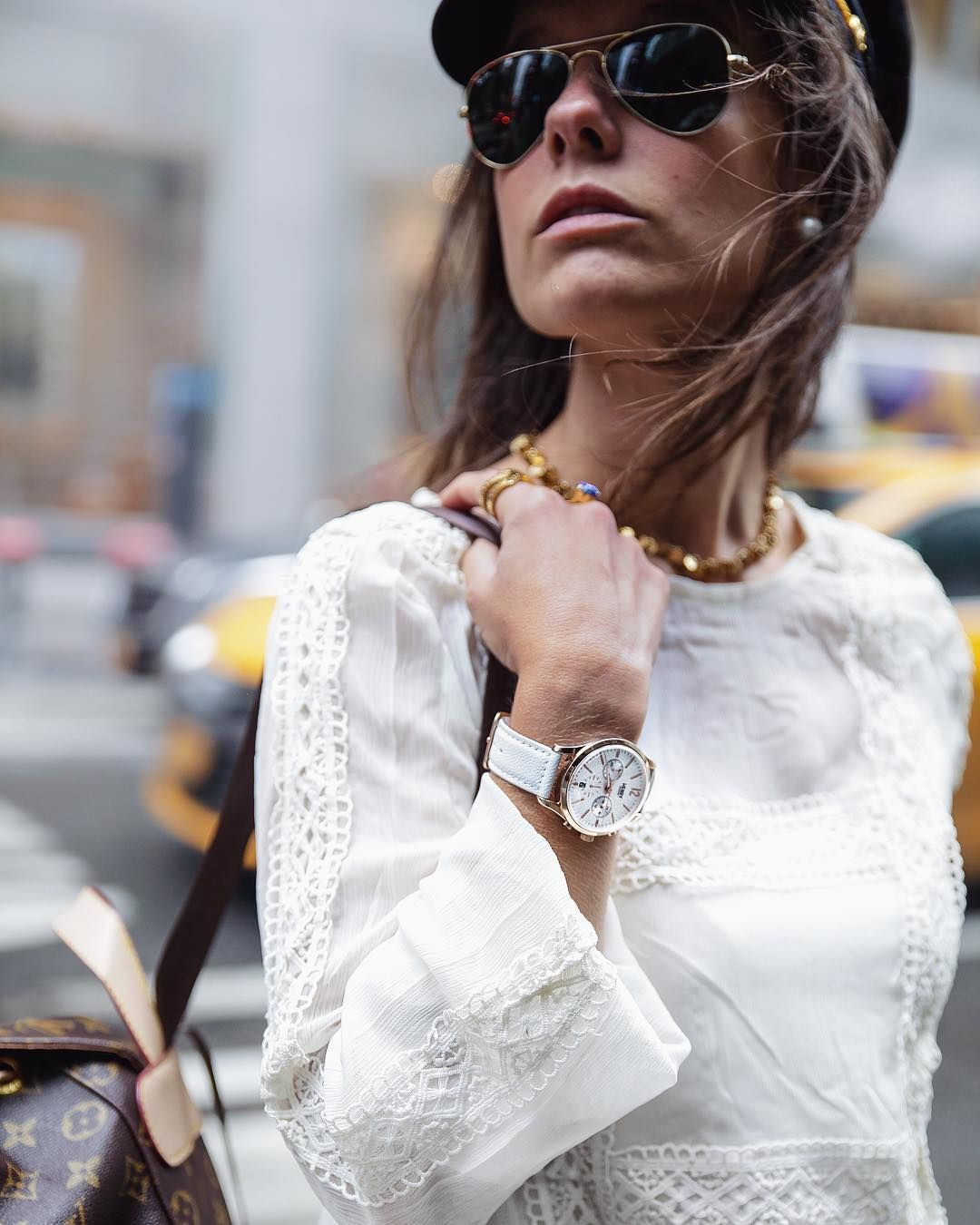 Laura Santolaria of 'The Guest Girl' blog styles up her Pimlico Henry London watch in NYC