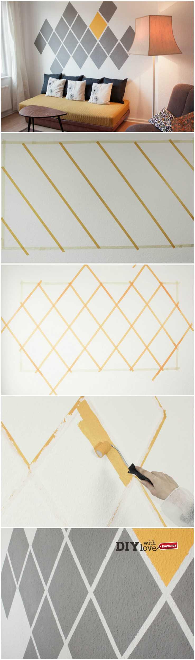 Tutorial fai da te: Come dipingere una parete con rombi colorati ...