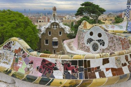 Parque Guell by Antoni Gaudi in Barcelona, Spain