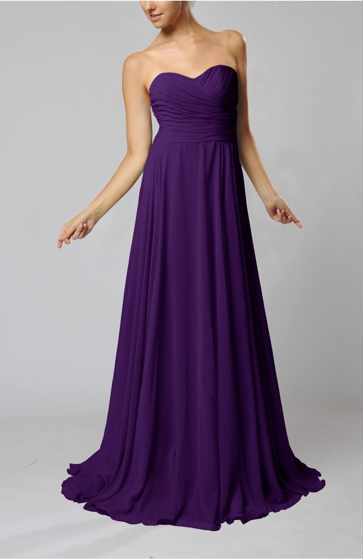 Royal Purple Bridesmaid Dress Cheap Chiffon Wedding Gown Semi Formal ...