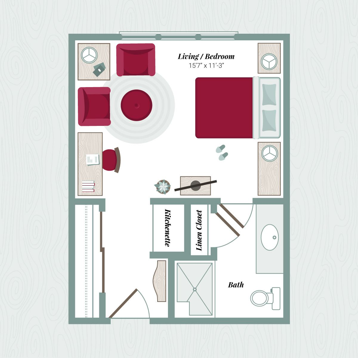 Large Studio Apartments: Floor Plan B - Large Studio Apartment