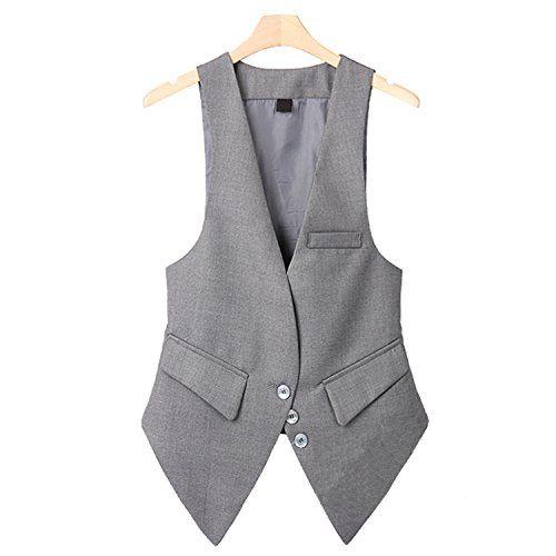 7fef7aeefc2 JIANGTAOLANG Office Lady Suit Vest Plus Size Sleeveless Blazer Camel Female  Waistcoat V Neck Jacket Gray XXL