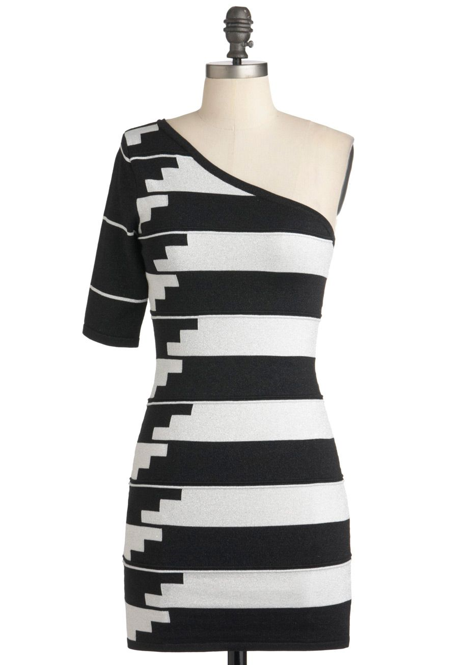 d990735fb1 Stairway to Chic Dress - Stripes, Girls Night Out, Mod, Bodycon / Bandage,  One Shoulder, Fall, Short, Black, White, Party