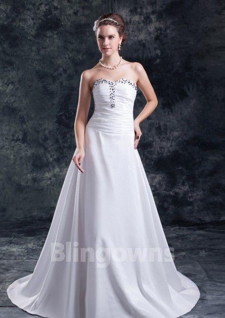 Sweep Taffeta Sweetheart Beads White A-line Sleeveless Zipper Wedding Dresses