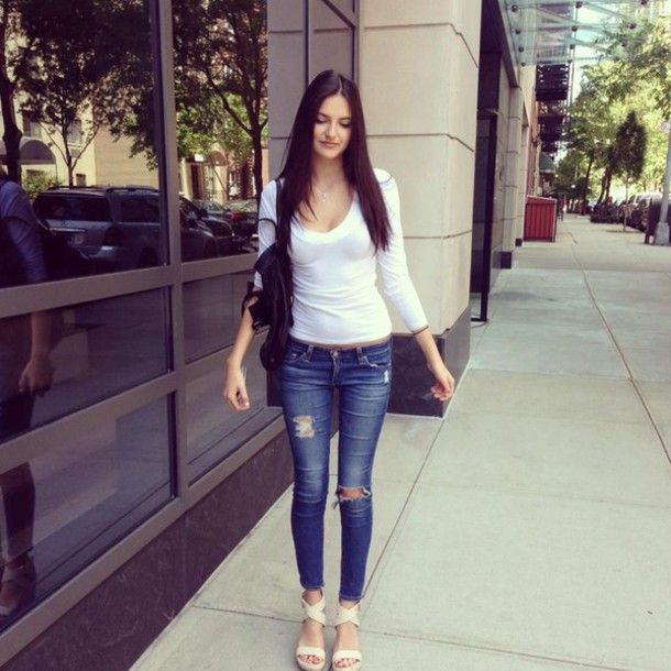 There is 0 tip to buy these jeans summer outfit pretty skinny ripped ripped  white top sandals wedges new york city city. Help by posting a tip if you  know