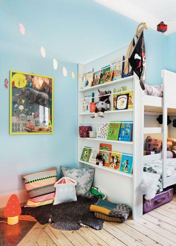 lit enfant sureleve, chambre d'enfant avec murs bleus, plafond blanc