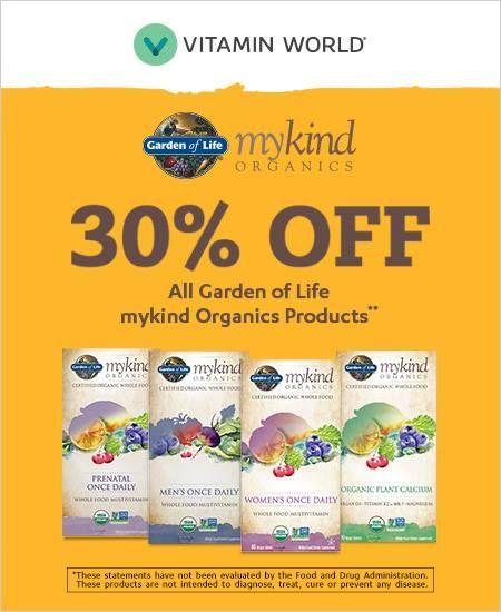 Vitamin World 30 Off All Garden Of Life Mykind Organic Products Valid On Mykind Brand Items Only Discount Taken Off Regular P Organic Plants Organic Vitamins