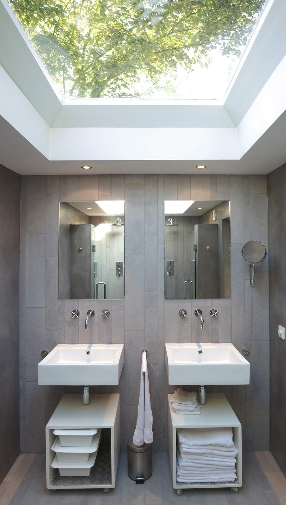 Grey Bathroom, Double Sinks & Showers, Unique Loft Conversion in The Netherlands...Love everything about this!!!  For my future home