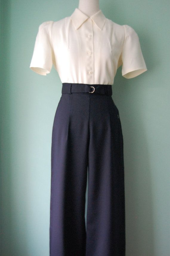 Women S 1940s Style Pants Overalls Blue Jeans In 2019