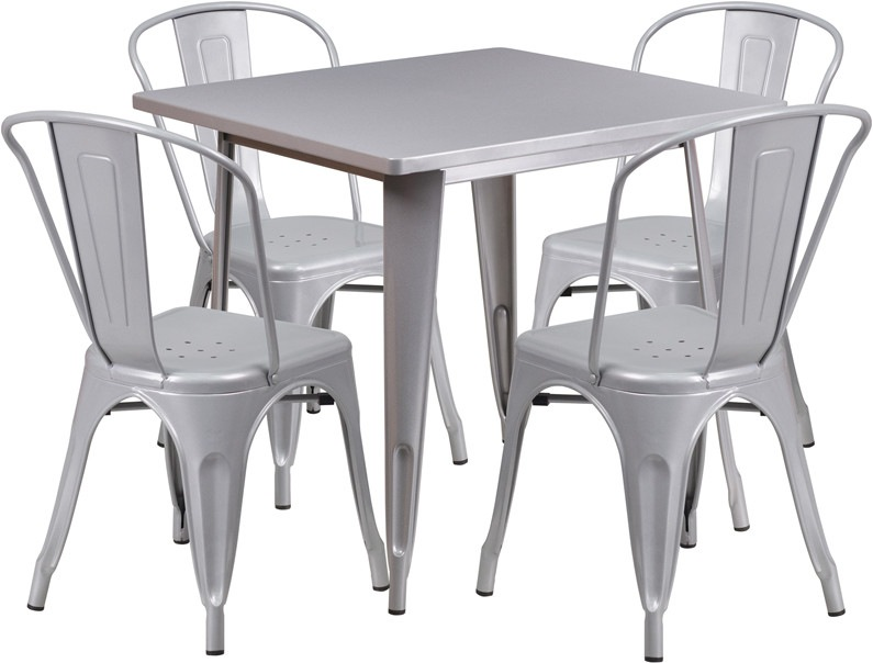 31.5'' Square Silver Metal Indoor Table Set with 4 Stack Chairs. Complete your dining room or restaurant with this chic 5 piece table and chair set. This colorful set will add a retro-modern look to your home or eatery. The table top features a smooth surface, a stabilizing brace and protective rubber floor glides. The lightweight stack chair features plastic caps that prevent the finish from scratching while being stacked. The possibilities are endless with the multitude of environments in…